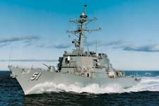 US Navy Arleigh Burke Destroyer with gas turbine propulsion including SSS Clutches.